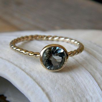 Seafaring Blue Aquamarine and 14k Yellow Gold by onegarnetgirl