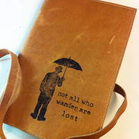 large leather journal sketchbook custom handprinted for you man/umb