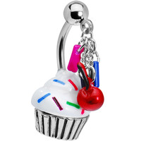 Top Drop Sprinkle Cupcake Belly Ring | Body Candy Body Jewelry