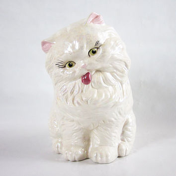 Large Ceramic White Persian Cat with Tongue Sticking Out