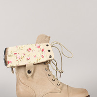 Wild Diva Lounge Jetta-25R Floral Cuff Military Lace Up Boot