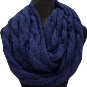 Not Kidding SALE: Warm and Cozy Big and Thick Navy Blue Infinity Scarf