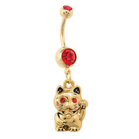 Morbid Metals 14G Lucky Cat Curved Navel Barbell