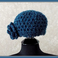 Girls Hat Soft Warm Dark Blue Cloche Kids Beanie Flower Accent Handmade Crochet