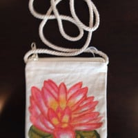 Hand Painted Waterlily Purse on a String