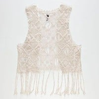 Full Tilt Fringe Trim Girls Crochet Vest Cream  In Sizes