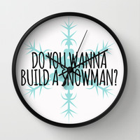 Do You Wanna Build a Snowman? Wall Clock by Lauren Ward
