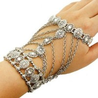 1 Trendy Chunky Urban Glam Silver Rhinestone Hand Chain Glove Wrist Band Multi Chain Stretch Bracelet Fashion Jewelry