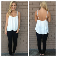 Black & White Daisy Strap Low Bank Tank