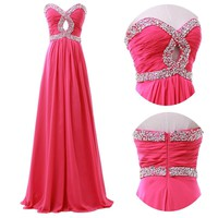 2014 Long Formal Wedding Gown Beaded Evening Prom Cocktail Party Pageant Dresses