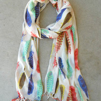 Native Feather Scarf [5073] - $10.00 : Vintage Inspired Clothing & Affordable Dresses, deloom | Modern. Vintage. Crafted.