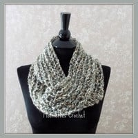 Handmade Gray Infinity Scarf, Crochet Cowl Neck Warmer Tweed, Camel, Cream, Medium Gray Grey