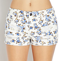 Wild Flower Distressed Denim Shorts