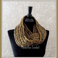 Soft Warm Brown Infinity Scarf, Cowl Neck Warmer Vintage Inspired Colors Blue Olive Green Handmade