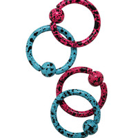 Steel Matte Pink And Turquoise Splatter Captive Hoop 4 Pack