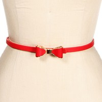 Red Skinny Bow Belt