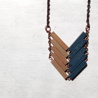 Wood Geometric Necklace // HAKUNA MATATA // Minimal Jewelry // Brown Beige Hand-Painted Necklace // Modern Necklaces // Chevron Necklace