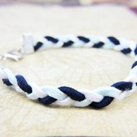 ALS awareness month May White Pale Blue Navy Braided Bracelet | LittleApples - Jewelry on ArtFire