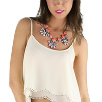 Beaded Scallop Edge Crop Top - Ivory