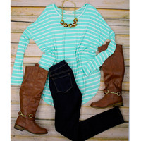 Long Sleeve Striped Comfy Tunic - Mint/White