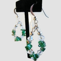 Green Glass Chips and Swarovski Crystal Bicone Earrings