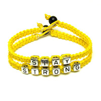 Stay Strong Hemp Bracelet Set, Bright Yellow Macrame Jewelry, Recovery Bracelets, Made to Order