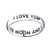 I Love You To The Moon & Back Sterling Silver Band Ring
