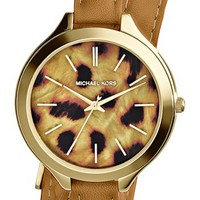 Michael Kors 'Slim Runway' Cheetah Dial Leather Wrap Watch, 42mm | Nordstrom