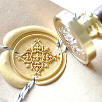 Decorative Filigree Gold Plated Wax Seal Stamp x 1