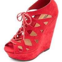 CUT-OUT LACE-UP PEEP TOE PLATFORM WEDGES