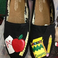 Custom hand painted Teacher themed Toms