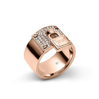 Michael Kors Padlock Plaque Ring, Rose Golden