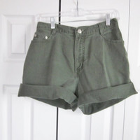 Vintage 90s Grunge Green Denim Shorts Hipster High Waisted Shorts Womens 12 Green High Waist Denim Shorts 30 Waist S71