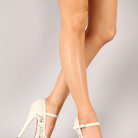 Anne Michelle Realove-07 Lace Mary Jane Platform Pump
