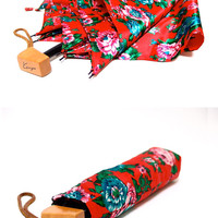Brightly Tropical flowers, KENZO Red folding Umbrella, Super Water Repellent, made in Japan