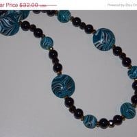 ON SALE Blue Swirl Lampwork Necklace