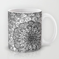 Shades of Grey - mono floral doodle Mug by micklyn