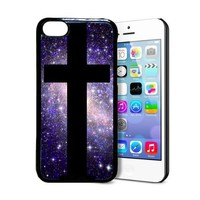 BestElec Shawnex Galaxy Hipster Cross Nebula Space for iPhone 5C Case - Thin Shell Plastic Protective Case for iPhone 5C Case
