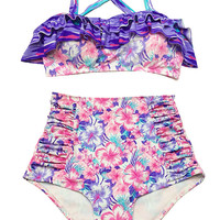 Pink Purple Flora Top and High Waisted Waist Shorts Bottom Summer Swimsuit Swimwear Bikini Swimming Swim Beach Bathing suit Swimdress S M L