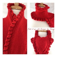 Elegant Victorian style Hand knit Harvest Red Ruffle edge Ladies Scarf | jazzitupwithdesignsbynancy - Knitting on ArtFir