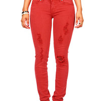 Hue Shred Skinnys | Color Denim at Pink Ice