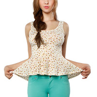 Papaya Clothing Online :: FLORAL PEPLUM SLEEVELESS TOP
