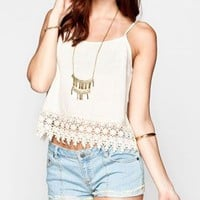 Blu Pepper Crochet Trim Womens Cami Cream  In Sizes