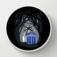 Tardis doctor who lost in the woods Decorative Circle Wall Clock Watch by Three Second