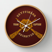 Harry potter Gryffindor quidditch team Decorative Circle Wall Clock Watch by Three Second