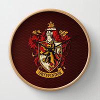 Harry potter Gryffindor team shield Decorative Circle Wall Clock Watch by Three Second