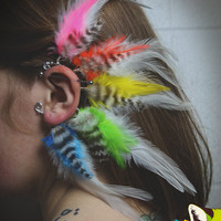 chakra // rainbow feather earcuff