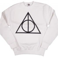 21 Century Clothing Unisex-Adult Harry Potter Deathly Hallows Sweatshirt Medium White