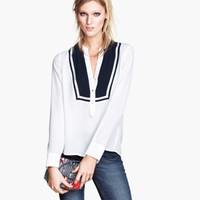 H&M - Chiffon Blouse - White - Ladies