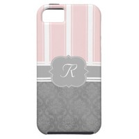 Gray Damask Pink Stripe Monogram Case